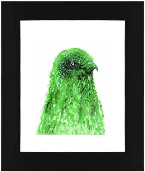Framed Original Print Birds of a Feather - Green